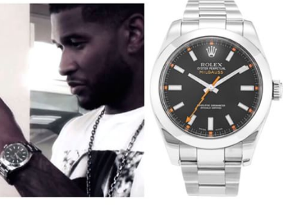 Usher wearing rolex milgauss for Celebrity watch brand male